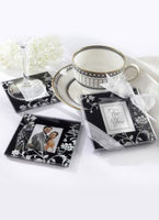 "Bridal Wear & Accessories|Wedding  - ""Timeless Traditions"" Elegant Black & White Glass Photo Coasters (Set of 2)"