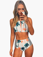 White Palm Tree Print Scoop Neck Two Piece Swimsuit For Women