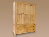 Wardrobes  - Honey B Part Assembled Harvard Oak Triple Wardrobe With 4 Drawers