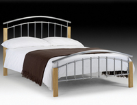 Small Double Frame  - Julian Bowen Aztec Double Silver Metal Bed Frame