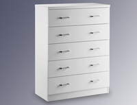 Chests of drawers  - Lpd Flat Packed Novello White Gloss 5 Drawer Chest Of Drawers