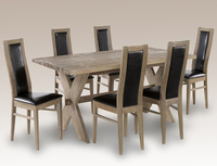 Dining Room Suites  - Lpd Provence 180cm Durian Dining Table And 6 Brown Faux Leather Chairs