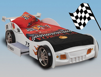 Beds  - Sweet Dreams Sonic Single White Racing Car Bed Frame