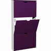 3 Drawer Metal Front Shoe Cabinet in White/Purple,  5260-136
