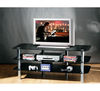 3 Tier Black Glass TV Stand With Chrome Legs