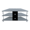 7 Series Black Glass Tv Stand with Chrome Legs,  tv70142BCH