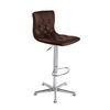 Abby Brown Bar Stool In Faux Leather With Chrome Base