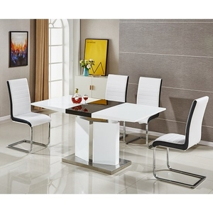 General Furniture  - Belmonte Extendable Dining Table Small With 6 White Chairs