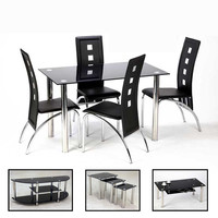 Dining Room Suites  - Bizet 4 Seater Dining Room Set In Black Glass And Chrome