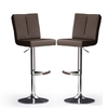Bruni Bar Stools In Brown Faux Leather in A Pair