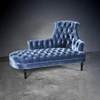 Brusel Monarch Chaise In Steel Blue Velvet Style Fabric
