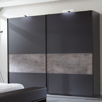 Wardrobes  - Clovis Sliding Wardrobe Medium In Lava And Concrete With 2 Door
