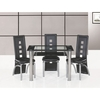 Club Small Glass Dining Table And 4 Black Manhattan Chairs