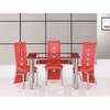 Club Small Glass Dining Table And 4 Red Manhattan Chairs