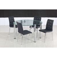 Eden Circular Extending Dining Table + 4 Black Pu Dining Chairs