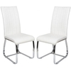 Elston Dining Chair In White Faux Leather In A Pair