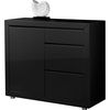 Fino Retro Style Sideboard in Black High Gloss With 1 Door
