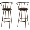 Flip Silver Bar Stool In Black Faux Leather in A Pair