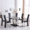 Holly Black Glass Dining Set With 6 Collete Chairs