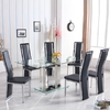 Holly Dining Table In Clear Glass With 6 Collete Black Chairs