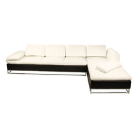Ice 3 Seater + Daybed Black and White Leather Suite