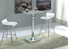 Ice Bar Table in Frosted Glass with 2 Br6 White Stools