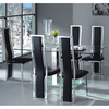 Ice Glass Dining Table With 4 Dining Chairs Black