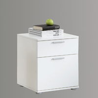 Furnishings & Fixtures  - Jack 3 White Finish Wooden Bedside Cabinet With 2 Drawers
