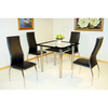 Jazo Glass Dining Table With 2 Black Dining Chairs