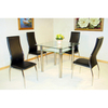 Jazo Square Clear and Frosted Glass Table And 2 Black Chairs