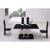 Jet Small Black Glass Dining Table And 4 Black Dining Chairs