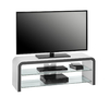 Kaira White High Gloss LCD TV Stand With Clear Glass Shelves