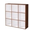 Linea Baltimore walnut and White Wall Shelving Unit,  1550-137