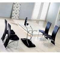 Dining Room Suites  - Maze Clear Glass Table And 6 D212 Chairs