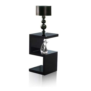 Miami Side Table In Black High Gloss With S Shape Design