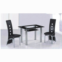 Dining Room Suites  - Milano Black Border Glass Dining Table Set With 4 Dining Chairs