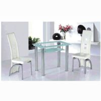 Dining Room Suites  - Milano Frosted Border Glass Dining Set With 4 Dining Chairs