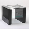 Mirage Lamp Table In Pattern Glass Top With Black Gloss Frame