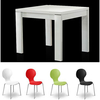Modern Dining Table Square In Gloss White And 4 Keeler Chairs