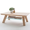 Morely Wooden Coffee Table In Bianco Oak With Glass Shelf