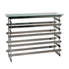 Moritz Glass Console Table In Clear With Black Nickel Frame