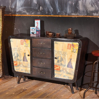 Chests of drawers  - Nadar Brown Metal 4 Drawer Chest With 2 Door In Canvas Decor