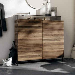 Chests of drawers  - Nadine Drawers Chest In Walnut And Anthracite With Smoke Glass