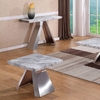 Orion Marble Lamp Table With Brushed Stainless Base