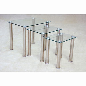 Pearl Clear Glass Nest Of Tables With Chrome Legs