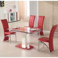 Tables  - Picasso 4 Seater Extending Glass Dining Set In Red And Clear