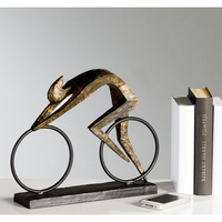 Party Decoration  - Racer Sculpture In Bronze With Black Metal Base