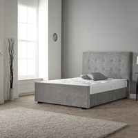 Beds  - Rachel Bed In Naples Silver Fabric With Wooden Feet