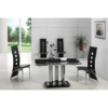 Dining Room Suites Rihanna Glass Extending Dining Table With 6 Black G525 Chairs