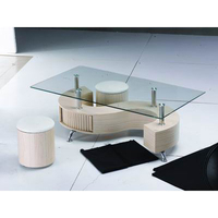 Tables  - S Shape Glass Top Beech Coffee Table With Storage